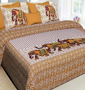 Cotton Rajasthani Jaipuri Double Bed Bedsheet with 2 Pillow Covers