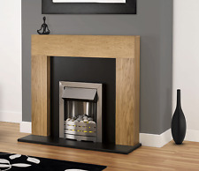 ELECTRIC OAK WOOD FIREPLACE MODERN BLACK SURROUND LED SILVER INSET ELECTRIC FIRE