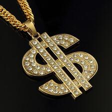 35In 18K Cool Men Hip Hop Rhinestones Necklace Big Dollar Sign Money Pendant