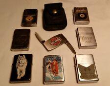 zippo lighter/case/harley knife money clip lot  (9)