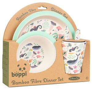 boppi Bamboo Kids Childrens Baby Dinner Set Plate Cup Bowl Cutlery UNDER THE SEA