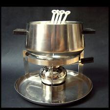 Mono-fondue, olla, rechaud + 4 tenedores-acero inoxidable-Design: Peter raacke