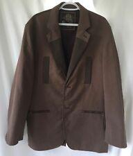 MARK ECKO Cut & Sew Sport Coat Jacket Mens Sz XL Tan Brown Zipper Chain Snaps