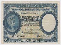 Hong Kong HKG Shanghai 1 Dollar $ 1935 P172c VF Helmet Woman Britannia Ceres