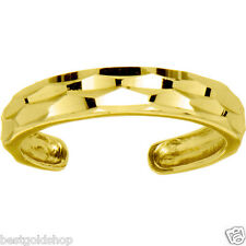 Adjustable Diamond Cut Band Style Toe Ring Solid Real 14K Yellow Gold