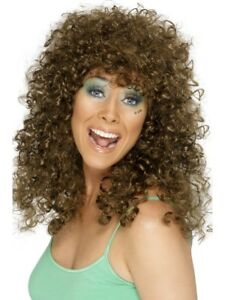 1980's Brown Boogie Babe Wig Adult Womens Smiffys Fancy Dress Costume