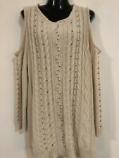 NEW WITHOUT TAGS DESIGNER AUTOGRAPH CREAM BEADED CUT OUT KNIT CARDIGAN L