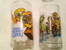 2 Vintage Muppets Glasses, 1982 McDonalds, Kermit The Frog, Great Muppet Caper A