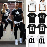 Couple T-Shirt The King and Queen Valentine Love Matching Unisex Men Women Tops
