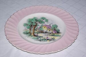 """Clarice Cliff Royal Staffordshire 10"""" Plate Pink Country Cottage Riverside Scene"""