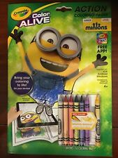 Minions Crayola Color Alive Action Coloring Pages w/ New Banana Crayon - Ages 4+
