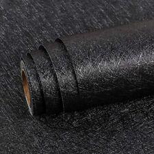 Black Silk Self Adhesive Wallpaper Embossed Peel and Stick Contact Paper Vinyl