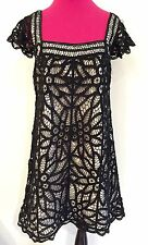 SALE~AUTH BETSEY JOHNSON BLACK BATTENBERG LACE & WHITE BABYDOLL TAFFY DRESS-$325