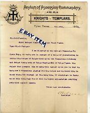 1892 LETTERHEAD Tyler Texas ASYLUM OF ASCENSION KNIGHTS of TEMPLAR A.F. Reese