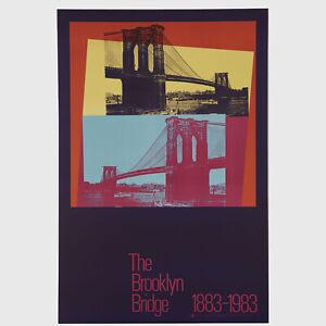 "Andy Warhol Rare Vintage 1983 Original Brooklyn Bridge 1883-1983 36"" Poster"