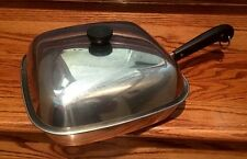 "RARE! VINTAGE REVERE WARE SQUARE COPPER BOTTOM SKILLET / PAN BIG ONE! 11"" W/ LID"