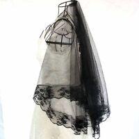 Bridal Gothic Wedding Veil Black Rose Punk Victorian Rave Fancy Dress LAC