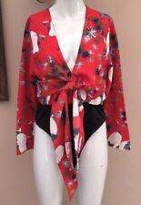 BNWT Boohoo Petite Oriental Body Suit Size 12 Tie Waist Front Crane Bird Print