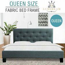 NEW Queen Size Heavy Duty Steel Frame Grey Linen Fabric Padded Foam Bed Frame
