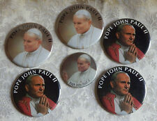 Vintage Lot of 6 Pope John Paul II Pinback Buttons Pins Religious Catholic