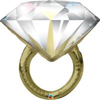 "LARGE FOIL SUPERSHAPE BALLOON DIAMOND WEDDING RING 37"" WEDDING PARTY SUPPLIES"