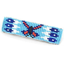 BLUE SEED BEADED NATIVE AMERICAN STYLE HAIR BARRETTE FRENCH CLIP Z32/2