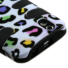 For LG Marquee Hybrid FISHBONE Rubber Case Phone Cover White Rainbow Leopard