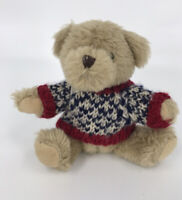 "HugFun Plush Bear 8"" Brown Blue & Red Sweater Sitting winter Stuffed Animal Toy"