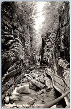 RPPC The Flume Gorge Franconia New Hampshire River Real Photo Postcard