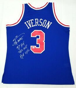 ALLEN IVERSON SIGNED 76ERS BLUE MITCHELL & NESS JERSEY W/ MULTI INSC ROY, ANSWER