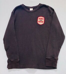"""Gymboree """"Alpine Patrol"""" Search and Rescue Team Patch Dark Brown Thermal Top, 8"""