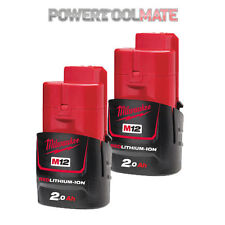 Genuine Milwaukee M12B2 12v Li-Ion 2.0Ah Battery *TWIN PACK*
