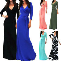 Womens Sexy V-neck Summer Dress Boho Maxi Long Evening Party Beach Cocktail NEW