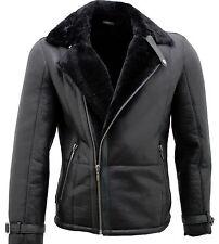 Men's Black Double Breasted Real Sheepskin Biker Jacket