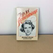This for Remembrance by Rosemary Clooney AUTOGRAPHED FREE SHIPPING!!