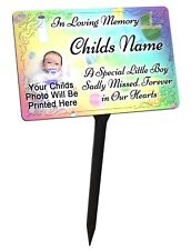 Your Photo Personalised Baby Boy Memorial Plaque & Stake. for garden grave etc