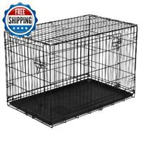 "48"" Dog Crate Kennel XL Pet Double Door Folding Wire Metal W/ Divider Heavy Duty"
