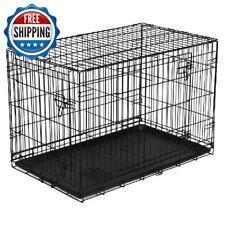 "48"" Dog Crate Kennel XL Pet Double Door Folding Wire Metal W/ Divider Heavy Duty"