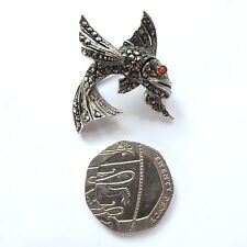 Fish Brooch Red Glass Eye Fabulous Vintage Solid Silver Marcasite
