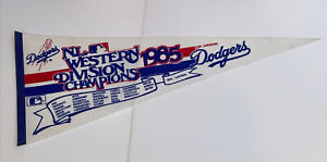 VINTAGE MLB LOS ANGELES DODGERS 1985 NL WESTERN DIVISION CHAMPIONS PENNANT