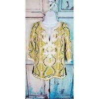 J Crew women's 100% Silk Fresco Embroidered Paisley Print Tunic Size 0