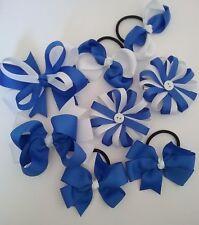 girl Kids 8pcs Set Royal blue/White school  Hair bow alligator clips bobbles