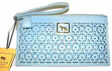 EMMA FOX Baby Blue Leather Clutch Purse Forsyth Wristlet NWT