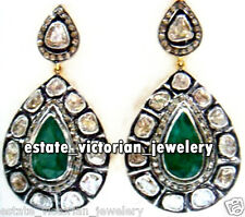 Studded Silver Vintage Earring Jewelery 4.43Cts Rose Antique Cut Diamond Emerald