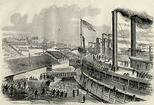 Civil War McClernands Brigade Departs Cairo Illinois on Steamship Vintage Print