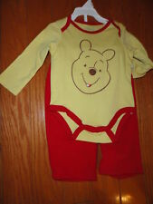 Disney 2pc yel Cotton Pooh Bear Pant Set. Size 0-3 & 6-9 Month.