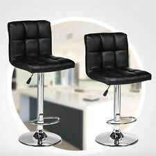 Set of 2 Bar Stools PU Leather Modern Hydraulic Swivel Dinning Chairs Black
