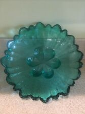 "Large Teal Green Art Glass Center Bowl 12"" EUC"