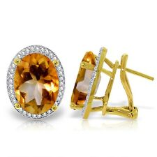 Genuine Citrine Oval Gems & Diamonds French Clip Halo Earrings in 14K Solid Gold