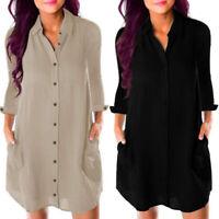 Women Button Down Shirt Top Blouse Tee Office Work Ladies Long Sleeve Mini Dress